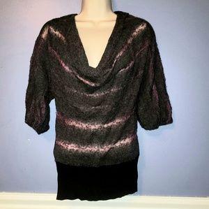 Free People Purple Black Stripe VSCO Sheer Sweater